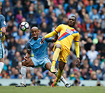 Vincent Kompany of Manchester City in action with Christian Benteke of Crystal Palace during the English Premier League match at the Etihad Stadium, Manchester. Picture date: May 6th 2017. Pic credit should read: Simon Bellis/Sportimage