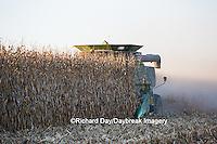 63801-06705 John Deere combine harvesting corn, Marion Co., IL