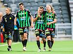 Stockholm 2014-06-18 Fotboll Superettan Hammarby IF - GAIS :  <br /> GAIS Joel Johansson (mitten) &auml;r glad efter matchen tillsammans med lagkamrater<br /> (Foto: Kenta J&ouml;nsson) Nyckelord:  Superettan Tele2 Arena Hammarby HIF Bajen GAIS jubel gl&auml;dje lycka glad happy