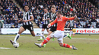 Jack Marriott of Luton Town scores the opening goal during the Sky Bet League 2 match between Plymouth Argyle and Luton Town at Home Park, Plymouth, England on 19 March 2016. Photo by Liam Smith.
