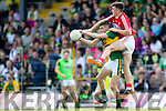 Sean O'Shea Kerry in action against Tadhg Corkery Cork in the Munster Minor Football Final in Fitzgerald Stadium, Killarney on Sunday last.