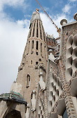 View of one of the towers and the exterior that is under construction at The Basilica de la Sagrada Família (Basilica and Expiatory Church of the Holy Family) in Barcelona, Spain on October 19, 2013.<br /> Credit: Ron Sachs / CNP