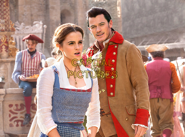 Beauty and the Beast (2017)<br /> Emma Watson as Belle and Luke Evans is Gaston  <br /> *Filmstill - Editorial Use Only*<br /> CAP/KFS<br /> Image supplied by Capital Pictures