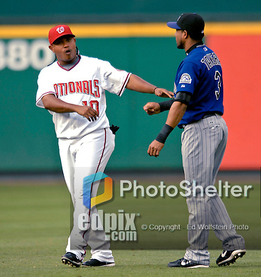 19 July 2007: Washington Nationals infielder Ronnie Belliard (left) chats with Colorado Rockies center fielder Willy Taveras prior to their game at RFK Stadium in Washington, DC. The Nationals defeated the Rockies 5-4 in extra innings in their first meeting of the season...Mandatory Photo Credit: Ed Wolfstein Photo