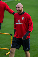 James Collins during the Wales open Training session ahead of the opening FIFA World Cup 2018 Qualification match against Moldova at The Vale Resort, Cardiff, Wales on 31 August 2016. Photo by Mark  Hawkins / PRiME Media Images.