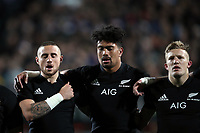 From left, TJ Perenara, Ardie Savea and Damien McKenzie sing the national anthem before the Rugby Championship match between the New Zealand All Blacks and South Africa Springboks at QBE Stadium in Albany, Auckland, New Zealand on Saturday, 16 September 2017. Photo: Shane Wenzlick / lintottphoto.co.nz