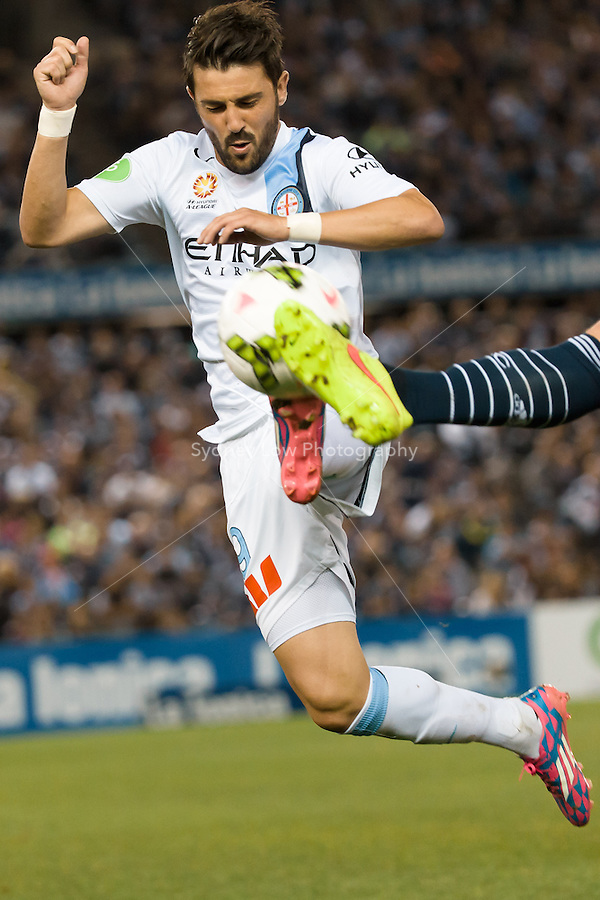 David VILLA of Melbourne City controls the ball in the round 3 match between Melbourne  Victory and Melbourne City in the Australian Hyundai A-League 2014-15 season at Etihad Stadium, Melbourne, Australia.