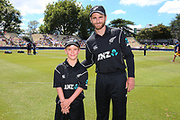 ANZ coin toss winner, Nathan Broadhurst, age 10, with New Zealand captain Kane Williamson. New Zealand Blackcaps v England. One Day International Cricket. Seddon Park, Hamilton, New Zealand on Sunday 25 February 2018.<br /> <br /> Copyright photo: &copy; Bruce Lim / www.photosport.nz