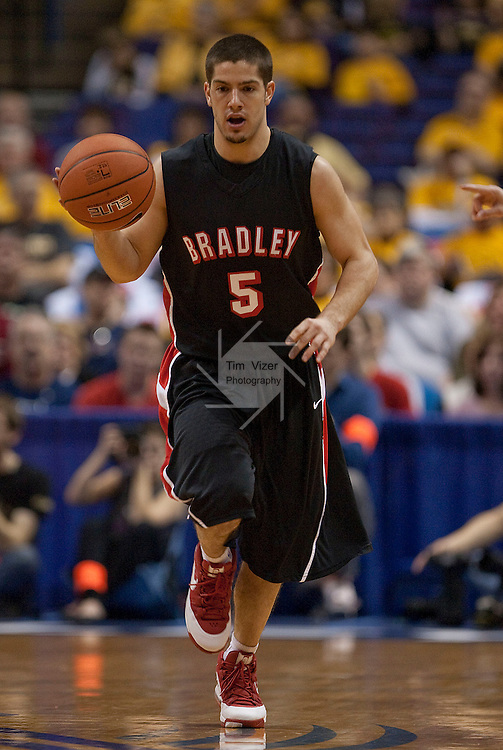 March 6,  2010          Bradley guard Sam Maniscalco (5) dribbles downcourt in the first half.   The University of Northern Iowa played Bradley University in the first of two semifinals (overall Game 7) on Saturday March 6, 2010 at the Scottrade Center in downtown St. Louis on Friday March 5, 2010.