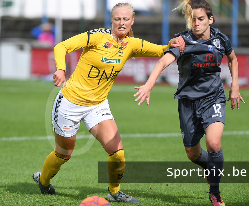 20190813 - DENDERLEEUW, BELGIUM : PAOK's Eirini Nefrou (r) pictured in a fight for the ball with LSK's Mia Authen (left) during the female soccer game between the Greek PAOK Thessaloniki Ladies FC and the Norwegian LSK Kvinner Fotballklubb Ladies , the third and final game for both teams in the Uefa Womens Champions League Qualifying round in group 8 , Tuesday 13 th August 2019 at the Van Roy Stadium in Denderleeuw  , Belgium  .  PHOTO SPORTPIX.BE for NTB | DAVID CATRY