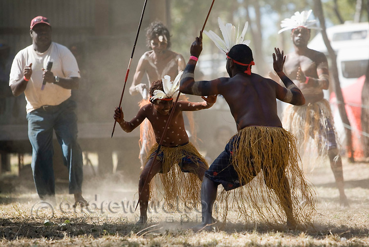 Dancers from the Aurukun community at the Laura Aboriginal Dance Festival.  Laura, Queensland, Australia