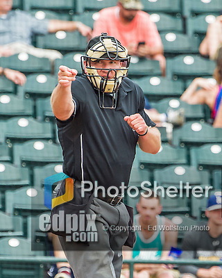 19 March 2015: MLB Umpire Jeff Nelson makes a call during a Spring Training game between the Miami Marlins and the Atlanta Braves at Champion Stadium in the ESPN Wide World of Sports Complex in Kissimmee, Florida. The Braves defeated the Marlins 6-3 in Grapefruit League play. Mandatory Credit: Ed Wolfstein Photo *** RAW (NEF) Image File Available ***