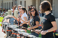 Drumline. Homecoming gets kicked off with the traditional car parade through the quad, Thursday, Oct. 23, 2014. (Photo by Marc Campos, College Photographer)