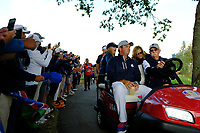 Patrick Reed (Team USA) during the friday foursomes at the Ryder Cup, Le Golf National, Ile-de-France, France. 28/09/2018.<br /> Picture Fran Caffrey / Golffile.ie<br /> <br /> All photo usage must carry mandatory copyright credit (© Golffile | Fran Caffrey)
