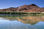 Echo Peaks reflected in the Colorado River, Lees Ferry, Glen Canyon National Recreation Area, Arizona
