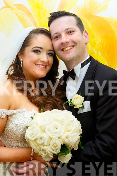 Jackie O'Mahony, daughter of the late Seanie&Ann, Tralee and Martin Hurley, son of Sean&Breeda, Farmers Bridge, Tralee who married last Friday, Nov 17th in St John's Church, Tralee with Fr Francis Nolan officiating. Bestman was Conor Hurley with groomsmen, Brian Hurley, Ronan Bogue, Stephan O'Callaghan and Johnny Gornall. 1st bridesmaid was Angela Hunter, others were Niamh O'Keeffe, Michelle Griffin, Tricia MacMahon with Tara Dore. Flower girls were Ella O'Mahony&Alyssa Murphy. Pageboy was Eamonn Hunter. The reception was in the Ballyroe Heights hotel, Tralee and the couple will reside in Tralee.