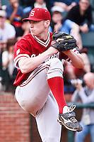 NASHVILLE, TENNESSEE-Feb. 27, 2011:  Chris Reed of Stanford delivers a pitch during the game at Vanderbilt.  Stanford defeated Vanderbilt 5-2.