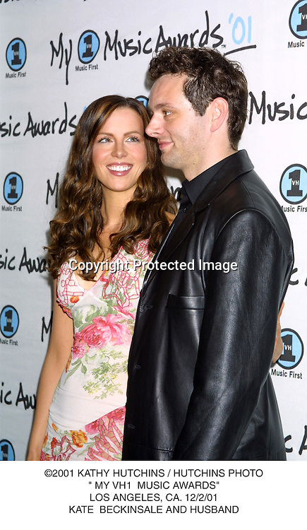 "©2001 KATHY HUTCHINS / HUTCHINS PHOTO."" MY VH1  MUSIC AWARDS"".LOS ANGELES, CA. 12/2/01.KATE  BECKINSALE AND HUSBAND"