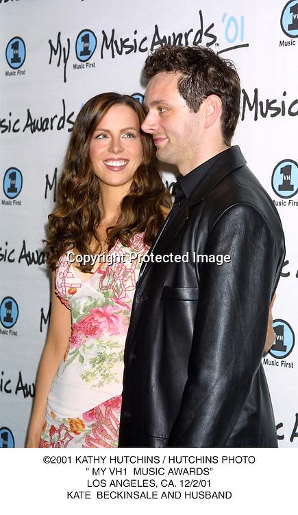 "©2001 KATHY HUTCHINS / HUTCHINS PHOTO."" MY VH1  MUSIC AWARDS"".LOS ANGELES, CA. 12/2/01.KATE  BECKINSALE AND HUSBAND"