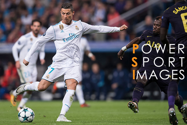 Cristiano Ronaldo of Real Madrid (L) rin action during the UEFA Champions League 2017-18 match between Real Madrid and Tottenham Hotspur FC at Estadio Santiago Bernabeu on 17 October 2017 in Madrid, Spain. Photo by Diego Gonzalez / Power Sport Images
