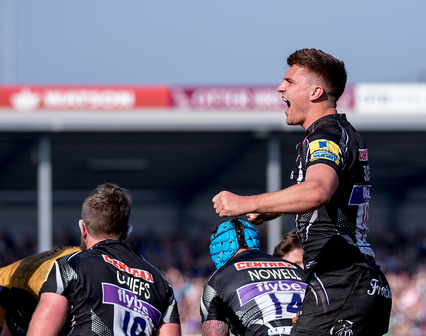 Exeter Chiefs' Henry Slade celebrates after a try<br /> <br /> Photographer Bob Bradford/CameraSport<br /> <br /> Aviva Premiership - Exeter Chiefs v Bristol - Saturday 8th April 2017 - Sandy Park - Exeter<br /> <br /> World Copyright &copy; 2017 CameraSport. All rights reserved. 43 Linden Ave. Countesthorpe. Leicester. England. LE8 5PG - Tel: +44 (0) 116 277 4147 - admin@camerasport.com - www.camerasport.com