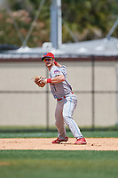 Clearwater Threshers third baseman Madison Stokes (17) throws to first base during a Florida State League game against the Dunedin Blue Jays on April 7, 2019 at Jack Russell Memorial Stadium in Clearwater, Florida.  Dunedin defeated Clearwater 2-1.  (Mike Janes/Four Seam Images)