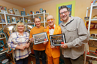 Pictured: Captain Beany presents awards to the Daisy Garland Charity.  Sunday 27 January 2019<br /> Re: 10 year anniversary of the Baked Bean Museum of Excellence, owned by Captain Beany (real name Barry Kirk) in a Council flat in Port Talbot, south Wales, UK.