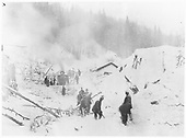 Old RGS depot west of Bridge 45-B after destruction by avalanche.  Workers are determining what to do next.  RGS #30 and rotary #2 are in the distance.<br /> RGS  Ophir Loop, CO  2/20 ? 1/8/1897