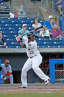 Norfolk Tides designated hitter L.J. Hoes (28) at bat during a game against the Louisville Bats at Harbor Park on April 26, 2016 in Norfolk, Virginia. Louisville defeated defeated Norfolk 7-2. (Robert Gurganus/Four Seam Images)