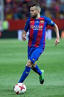 Jordi Alba of FC Barcelona during the match of  Copa del Rey (King's Cup) Final between Deportivo Alaves and FC Barcelona at Vicente Calderon Stadium in Madrid, May 27, 2017. Spain.. (ALTERPHOTOS/Rodrigo Jimenez) /NortePhoto.com