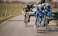 surviving trio with Philippe Gilbert (BEL/Quick Step floors) leading<br /> <br /> 50th GP Samyn 2018<br /> Quaregnon &gt; Dour: 200km (BELGIUM)