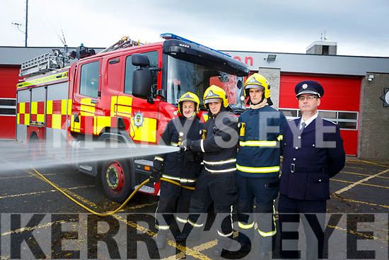 Tralee Fire brigade  are warning people to be safe and to be wary of bonfires on halloween night. Pictured Senior Assistant Chief Fire Officer, Maurice O'Connell, Brian McGivergan, Sean Heggarty, and Simon Draghici
