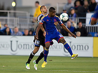 Deshorn Brown of Rapids controls the ball away from Jason Hernandez of Earthquakes during the game at Buck Shaw Stadium in Santa Clara, California on May 18th, 2013.  San Jose Earthquakes tied Colorado Rapids, 1-1.
