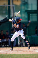 Atlanta Braves Jose Bermudez (15) at bat during an Instructional League game against the Detroit Tigers on October 10, 2017 at the ESPN Wide World of Sports Complex in Orlando, Florida.  (Mike Janes/Four Seam Images)