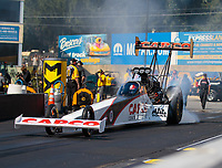 Sep 16, 2018; Mohnton, PA, USA; NHRA top fuel driver Steve Torrence during the Dodge Nationals at Maple Grove Raceway. Mandatory Credit: Mark J. Rebilas-USA TODAY Sports