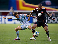 Jordan Graye (16) of D.C. United takes control of the ball in front of Wells Thompson (15) of the Colorado Rapids at RFK Stadium in Washington, DC.  The Colorado Rapids defeated D.C. United, 1-0.