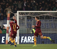 Football, Serie A: AS Roma - InterMilan, Olympic stadium, Rome, December 02, 2018. <br /> Roma's Cengiz Under (in front of) celebrates after scoring with his teammates Alessandro Florenzi (behind) and Nicol&ograve; Zaniolo (r) during the Italian Serie A football match between Roma and Inter at Rome's Olympic stadium, on December 02, 2018.<br /> UPDATE IMAGES PRESS/Isabella Bonotto