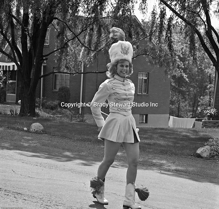 Bethel Park PA: Bethel Park High School Head Majorette Leslie Staub and the rest of the Bethel Park Band participating in the Annual Bethel Baseball Association Parade and Fundraiser - 1964.  Leslie Staub was a good friend of Cathleen Brady Stewart in high school.
