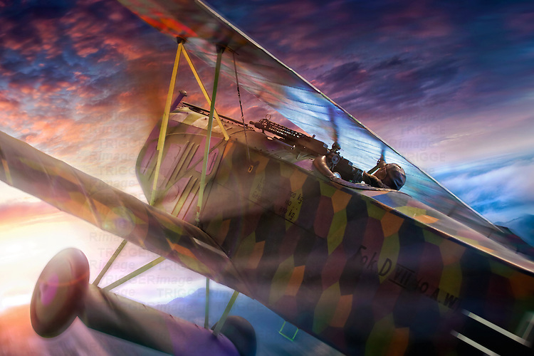 Fokker D7 in flight during dawn with pilot and machine gun. The Fokker D.VII was a German World War I fighter aircraft designed by Reinhold Platz of the Fokker-Flugzeugwerke