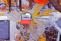 Geoff Bodine gets doused with Gatorade after winning the Goody's 300 NASCAR Busch series race before the Daytona 500, Daytona International Speedway, Daytona Beach, Florida, February 14, 1987. (Photo by Brian Cleary/www.bcpix.com)