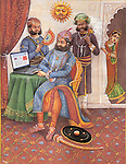 Painting of a Rajasthani king using a laptop, Rajasthan, India