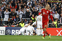 25.04.2012 Madrid Spain, UEFA Champions League Semi Final 2nd leg  Real Madrid vs Bayern Munchen. Picture show Real Madrid CF celebrating his team's goal