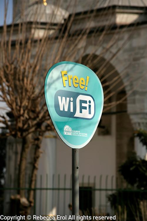 Free WiFi sign in Istanbul, Turkey