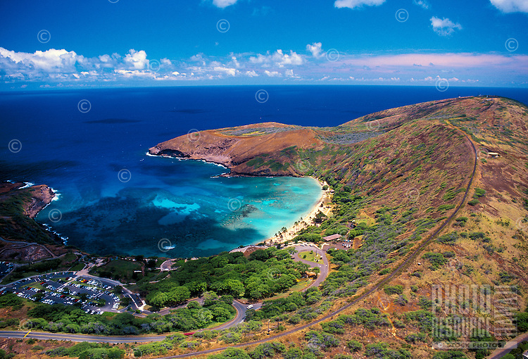 Aerial view of Hanauma Bay, an underwater paradise where snorkelers come face to face with Hawaii's colorful reef fishes.