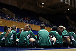 DURHAM, NC - NOVEMBER 05: Alaska Anchorage players sit in a circle before the game. The Duke University Blue Devils hosted the University of Alaska Anchorage Seawolves on November 5, 2017 at Cameron Indoor Stadium in Durham, NC in a Division I women's college basketball preseason exhibition game. Duke won the game 87-56.