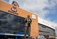 General view of the Stadium - Statue of Wigan Athletic owner Dave Whelan holding the FA Cup outside the main reception ahead of the pre season friendly match between Wigan Athletic and Liverpool at the DW Stadium, Wigan, England on 14 July 2017. Photo by Andy Rowland.