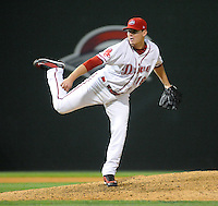 Sept. 17, 2009: Pitcher Jeremy Kehrt (18) of the Greenville Drive throws in relief in Game 3 of the South Atlantic League Championship Series between the Drive and the Lakewood BlueClaws Sept. 17, 2009, at Fluor Field at the West End in Greenville, S.C.  Photo by: Tom Priddy/Four Seam Images