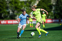 Seattle, WA - Sunday, April 17, 2016: Seattle Reign FC forward Beverly Yanez (17) works to maintain possession against Sky Blue FC defender Erin Simon (33) during the first half at Memorial Stadium. Sky Blue FC defeated the Seattle Reign FC 2-1 during a National Women's Soccer League (NWSL) match at Memorial Stadium.