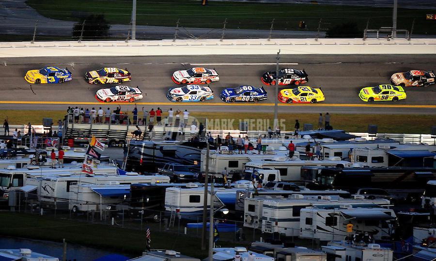 Jul. 2, 2010; Daytona Beach, FL, USA; NASCAR Nationwide Series driver Dale Earnhardt Jr (3) leads the field during the Subway Jalapeno 250 at Daytona International Speedway. Mandatory Credit: Mark J. Rebilas-