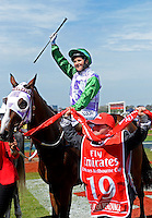 Winning jockey of PRINCE OF PENZANCE, Michelle Payne<br /> VRC Spring Racing Carnival <br /> 155th Melbourne Cup / Race 7<br /> Flemington Racecourse / Melbourne <br /> Australia  Tuesday3rd November 2015<br /> &copy; Sport the library / Courtney Crow